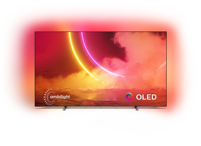 Philips Ambilight TV 55OLED805/12 55-Zoll OLED TV (4K UHD, P5 AI Perfect Picture Engine, Dolby Vision, Dolby Atmos, HDR 10+, Sprachassistent, Android