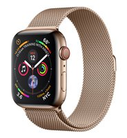 Apple Watch Series 4 GPS + Cellular, 44mm Edelstahl­gehäuse, Gold, mit Gold Milanaise Armband