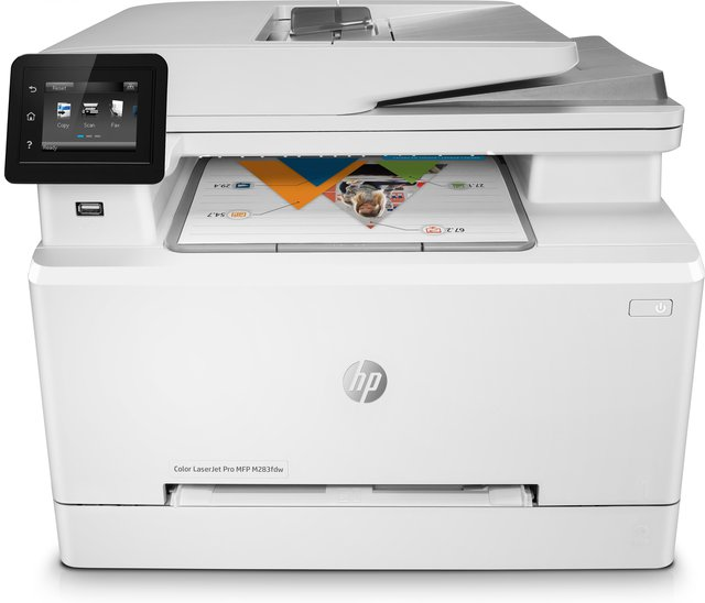 Farblaser-Multifunktionsgerät HP Color LaserJet Pro M283fdw, 4 in 1, USB/LAN/WLAN, A4, Toner