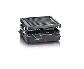Mini Raclette-Grill, kleines Raclette mit antihaftbeschichteter Grillplatte und 4 Raclette Pfännchen, Tischgrill für bis zu 4 Personen, 600 W
