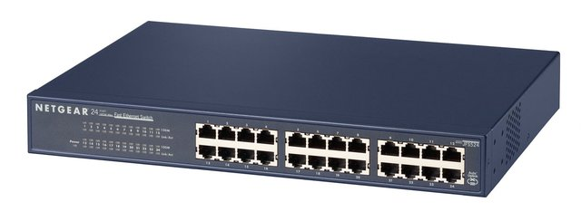 JFS524 24 Port Fast Ethernet LAN Switch (Plug-and-Play für Desktop oder 19 Zoll Rack-Montage, lüfterlos, mit ProSAFE Lifetime-Garantie)