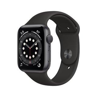 Watch Series 6 (GPS), 44 mm Aluminiumgehäuse Space Grau, Sportarmband Schwarz Smartwatch Aluminium, Fluorelastomer, 140 - 220 mm, Schwarz/Space