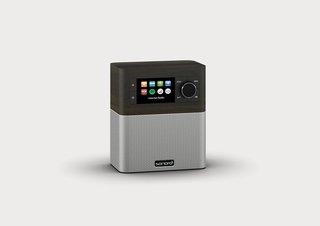 Stream Internet-Radio mit Bluetooth und DAB Plus (UKW, MP3, Spotify, Amazon, Deezer, spritzwassergeschützt) Design Küchenradio Mooreiche/Silber