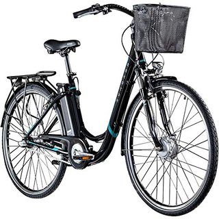 "E Damenrad 700c E-Bike Pedelec Z510 Citybike Elektrofahrrad 28"" Fahrrad (schwarz/türkis, 48 cm)"