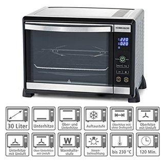 Elektronik Back & Grill Ofen BGE 1580/E - 30 Liter Backraum, elektronische Regelung von 80-230 °C, Touch Control, 8 Heizarten, Umluft,
