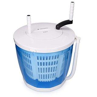 2in1 Mini Waschmaschine und Wäscheschleuder - Camping Waschautomat bis 2kg - Tragbare Toplader Reisewaschmaschine mit Schleuderfunktion
