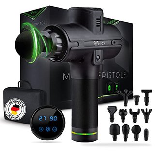 Massagepistole - Leistungsstarke Massage Gun mit 11 Massageköpfen [2600 mAh - 10h Laufzeit] - Massage Pistole mit LED Anzeige & Tragetasche -